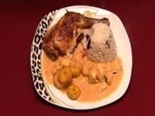 Soulfood - Hähnchen in Kokosmilch mit Reis und Bananen (Kitty Kat) - Rezept
