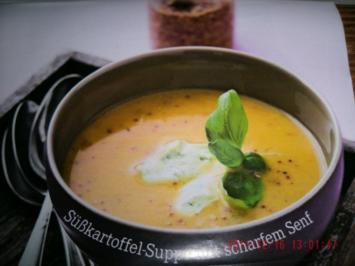 Süsskartoffeln-Suppe mit scharfen Senf - Rezept