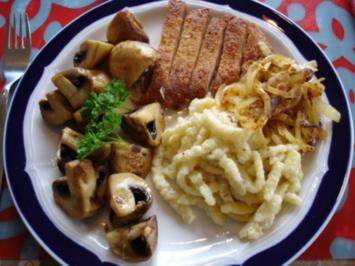 Champignons mit Käsekrüstchen und Spätzle - Rezept