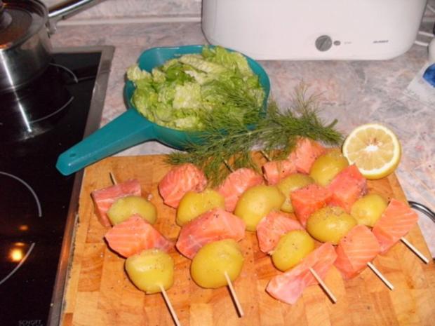 Kartoffel-Lachs-Spiesschen mit Dillsoße - Rezept - Bild Nr. 2