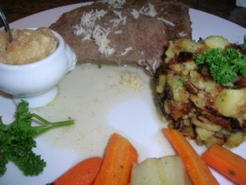 Tafelspitz (jedoch angebraten) mit Kartoffelschmarrn und Apfelkren - Rezept