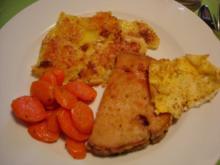 Gebackener Leberkäse mit glasierten Möhren und Kartoffelgratin - Rezept