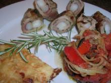 Involtini gefüllt m Riesengarnelen, Kartoffelgratin mit Rosmarin+ Oliven-Tomaten-Türmchen - Rezept
