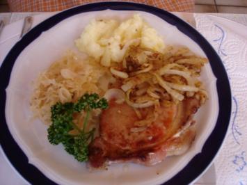 Kassler Kotelett mit Sauerkraut und Kartoffelpüree - Rezept