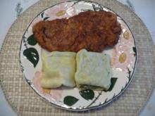 Kalbsfleisch : Kalbsschnitzel mit Maultaschen und grünem Salat - Rezept