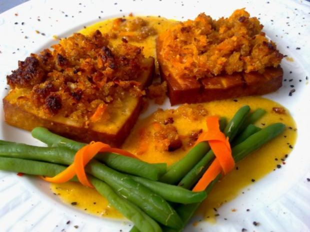 Räuchertofu mit Schalottenkruste in Senf-Orangen-Sauce - Rezept - Bild Nr. 2