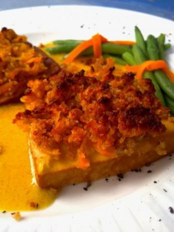 Räuchertofu mit Schalottenkruste in Senf-Orangen-Sauce - Rezept - Bild Nr. 3