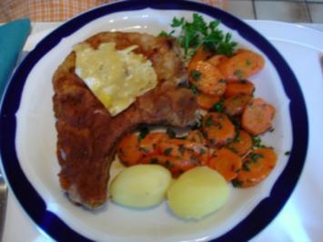 Kotelett mit Möhrengemüse und Kartoffeln - Rezept