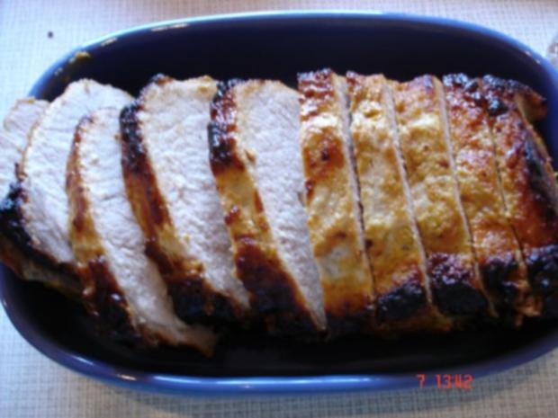 Lummerbraten gegrillt mit Rosmarinkartoffeln und Bohnen - Rezept - Bild Nr. 5