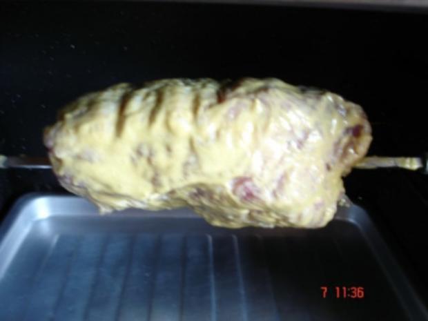 Lummerbraten gegrillt mit Rosmarinkartoffeln und Bohnen - Rezept - Bild Nr. 3