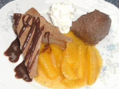 Schokoparfait, Mousse au Chocolat und Gewürzorangen - Rezept