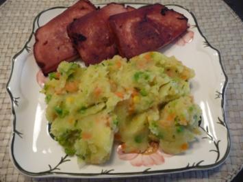 Schmalhans - Küchenmeister : Gebratener Leberkäse mit Gemüsekartoffelbrei - Rezept