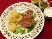 Tafelspitz mit drei Soßen und gelben Heidekartoffeln (Barbara Herzsprung) - Rezept