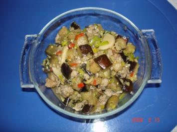 Würzige Auberginen mit Schweinehack - Rezept