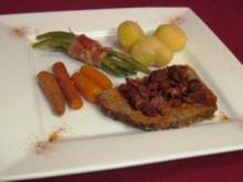 Cowboy Pot Roast mit roten Kartoffeln, grünen Bohnen im Prosciutto-Mantel und Pilzsoße - Rezept