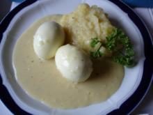 Senfeier mit Sellerie-Kartoffel-Püree - Rezept