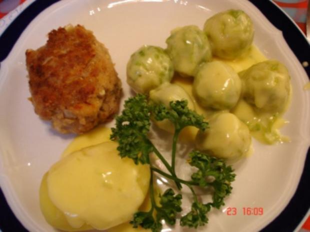 Rosenkohl mit Sauce Hollandaise und Mama´s Buletten und Salzkartoffeln - Rezept
