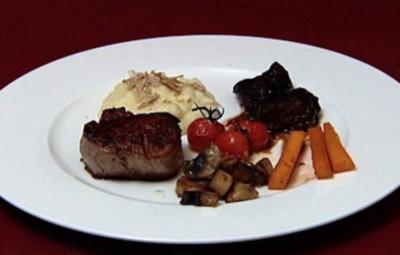 Kalbsbäckchen und Kalbsfilet mit Trüffel-Kartoffelpüree und Saisongemüse (Thomas Strunz) - Rezept