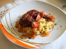 Hähnchenschenkel mit Curryreis und süß-scharfer Chilisoße - Rezept