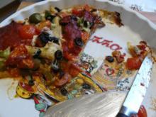 Vegetarische Pizza mit Pilzen und Tomaten - Rezept