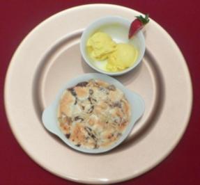 Bananen-Schokoladenauflauf gratiniert mit Mandeln und Marshmallows - Rezept