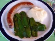 Bratwurst mit Zuckerschoten und Kartoffelpüree - Rezept