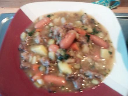 Gemüse-Kartoffeleintopf mit Mett und Würstel - Rezept