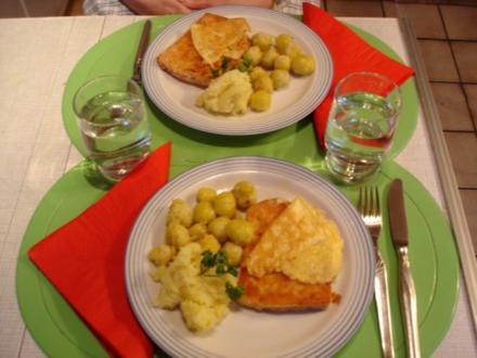 Gebackener Leberkäse mit Rosenkohl und Kartoffel-Püree - Rezept