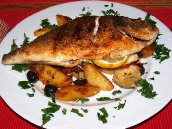 Goldbrasse mit Kartoffeln und Tomaten-Olivengemüse (Orate alle verdure) - Rezept