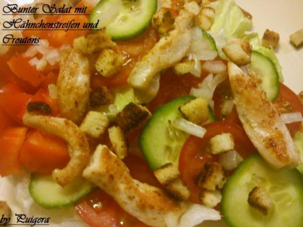 Bunter Salat mit Hähnchenstreifen und Croutons - Rezept - Bild Nr. 4