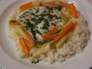 Schollenfilets auf bunten Gemüsestreifen - Rezept