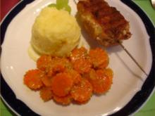 Hackfleischspieße mit Kartoffelstampf und Möhrenblütencurry - Rezept
