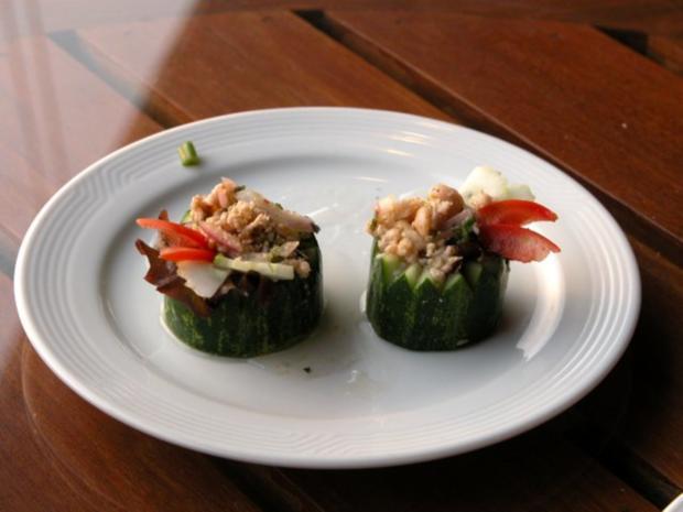 Gurkenhäppchen aus Thailand  (Taeng Kwa Maa Hor) - Rezept