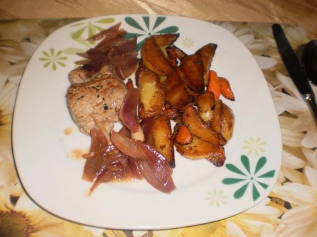 Schweinefilet mit Sherrysoße und Röstkartoffeln - Rezept