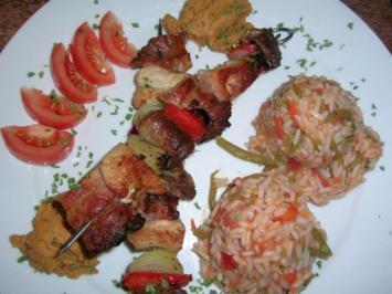 Raznjici - serbische Fleischspieße nach unserer Art mit Djuvec-Reis, Ajvar+Krautsalat - Rezept