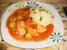 Rosenkohltopf mit Hähnchen und Lauchzwiebelkartoffelpüree - Rezept
