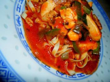 Hühnchen mit Paprika in fernöstlicher BBQ-Sauce; scharf - Rezept