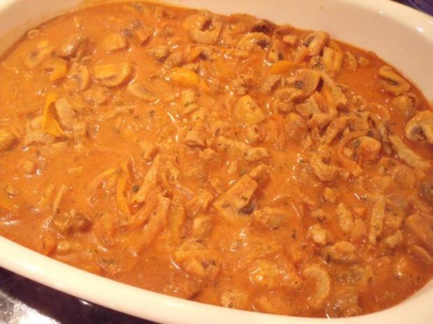Gyros in Metaxasauce mit Käse überbacken - Rezept