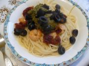 Pestospaghetti mit Shrimps - Rezept