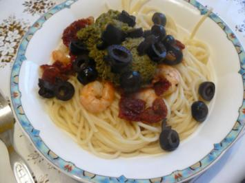 Pestospaghetti mit Shrimps - Rezept