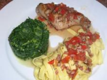 Kaninchenkeulen nach italienischer Art mit Blattspinat und Fettuccine - Rezept