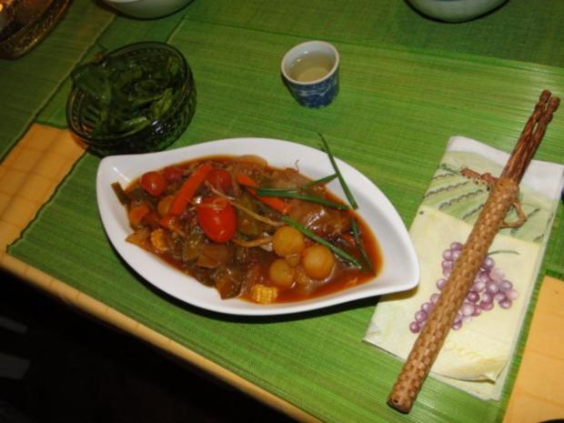 Thai-Wokgericht: Vegetarische Platte in Oestersauce - Rezept - Bild Nr. 14