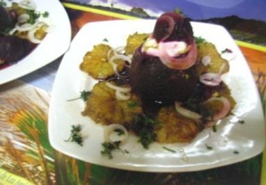 Vorspeise: Rote Bete Körbchen mit Joghurt und Orangen-Balsam - Rezept