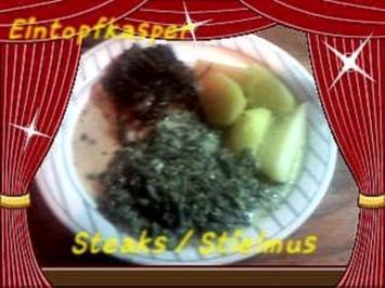 Kräuterzwiebel Steaks mit Rahmstielmus a`la Jörg und Salzkartoffeln - Rezept
