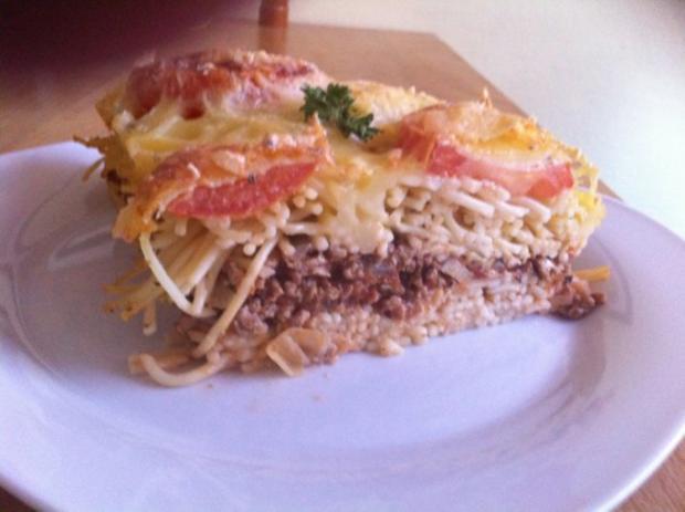 Spaghettitorte Italienischer Herzhafter Schichtkuchen Rezept Mit