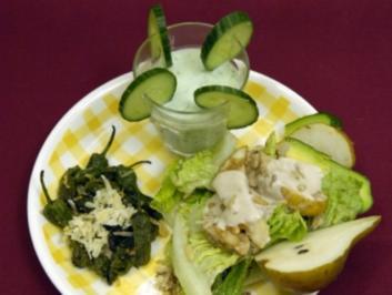 Rezept: Russisch Roulette-Pimientos mit Schrebergarten-Salat und Gurkenlassi (Charlotte Karlinder)