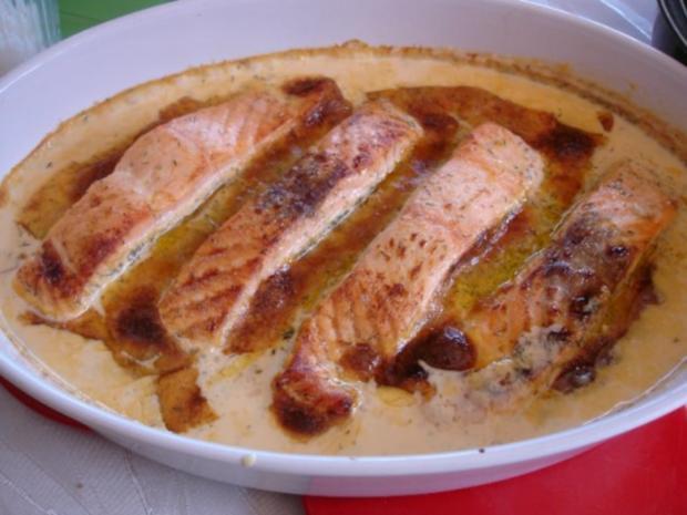 Lachs-Sahne Gratin mit Reis und Salat - Rezept - Bild Nr. 7