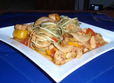 Puten-Paprika-Fenchel-Pfanne mit Spaghetti - Rezept