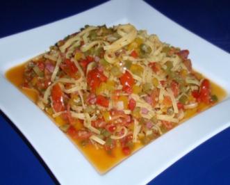 Linguini-Gemüse-Schinken-Pfanne - Rezept