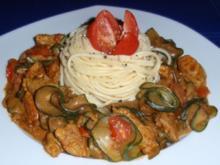 Zucchini-Filet-Pfanne mit Spaghetti - Rezept